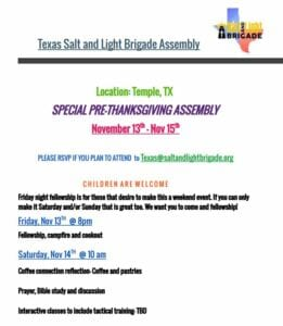 Texas Salt & Light Brigade Assembly @ Chad and Michelle's | Temple | Texas | United States
